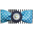 Aqua Navy Blue Bow with Gem