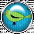 Aqua Navy Blue Brad with Bird