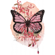 Pink & Orange Watercolor Butterfly Transfer Cluster