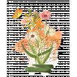 Pink & Orange Watercolor Botanical Flower Transfer Cluster