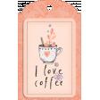 Purple & Orange I Love Coffee Tag