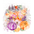 Purple and Orange Watercolor Flowers Bendable Transfer