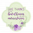 Purple and Green Frame: Give Thanks Word Art