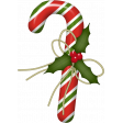 Christmas Candy Cane with Holly