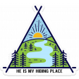 Retro Camper Kit Add-On: Tent, He is my Hiding Place Word Art