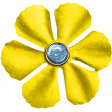 Yellow Fabric Flower with Blue Glitter Center