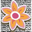 Chipboard Pink & Orange Flower