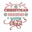 Christmas Mini Kit Element  09 Christmas Begins with Christ chipboard word art
