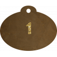 Brown and gold '1' tag