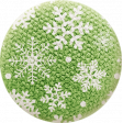 Sweater Weather - Fabric Button - Green With Snowflakes