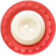 Birthday Wishes - Red and White Button