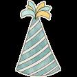 Birthday Wishes - Blue Party Hat Sticker