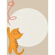 Kitty - Journal Card - Cat Reaching For Yarn - 3 x 4