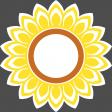Sunflower sticker - with a white border