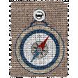 Burlap Camping Tag - compass rose