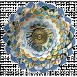 Blue Paper flower, torn-edged multi-layer element