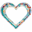 Triple layer Ripped-edges Blue Heart Frame