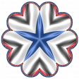 Patriotic Kaleidoscope - Flower 4 with Star