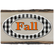 Fall Black & Orange Gingham - Oval w Wood 1