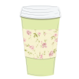 Takeaway Coffee Cup Vintage Floral Yellow