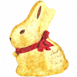 Gold Chocolate Bunny Impressionist Style