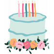 The Good Life: Birthday Illustrations - Cake 1 Color Wth Flowers