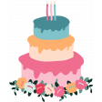The Good Life: Birthday Illustrations - Cake 2 Color With Flowers