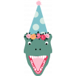 The Good Life: Birthday Illstrations - Dinosaur 02 with Flowered Hat Color
