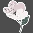 Winter Day  Elements - Cream Pink Flower Glitter