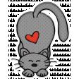 Cute Gray Cat Sticker 1