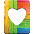 Large Heart Frame - Wood With Faded, Peeling, Multicolor Paint