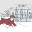Winter Day Journal Card January Calendar 4x4