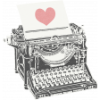 Love Knows Typewriter with Heart