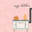 Cozy Kitchen Stove 4x4 Journal Card