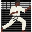 Karate Man Kicking Illustration Color