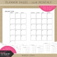 Planner Pages Kit - 2016 Monthly