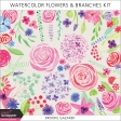 Watercolor Flowers and Branches Kit