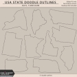 USA State Doodle Outlines