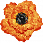 No Tricks, Just Treats-Orange And Black Vintage Flower