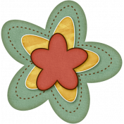 Sweet Valentine Elements- Teal Yellow Red Flower