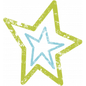 Lil Monster- Green & Blue Star Stamp