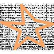 Lil Monster Orange Star Outline Stamp