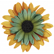 Sweet Valentine Elements- Yellow and Teal Flower