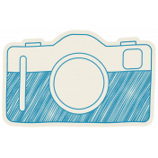 Hello- Doodled Camera Blue