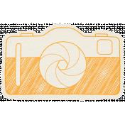 Hello- Doodled Camera Orange
