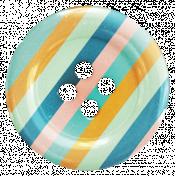 Hello- Striped Button
