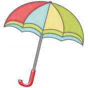 Rain, Rain- Red Blue Green Yellow Umbrella