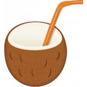 At The Beach- Coconut With Straw