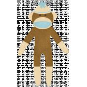 Oh Baby, Baby- Blue & Brown Sock Monkey Sticker