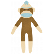 Oh Baby, Baby- Blue & Brown Sock Monkey Sticker